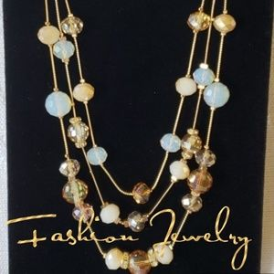 Jewelry - Layered Gold Tone Crystal Necklace